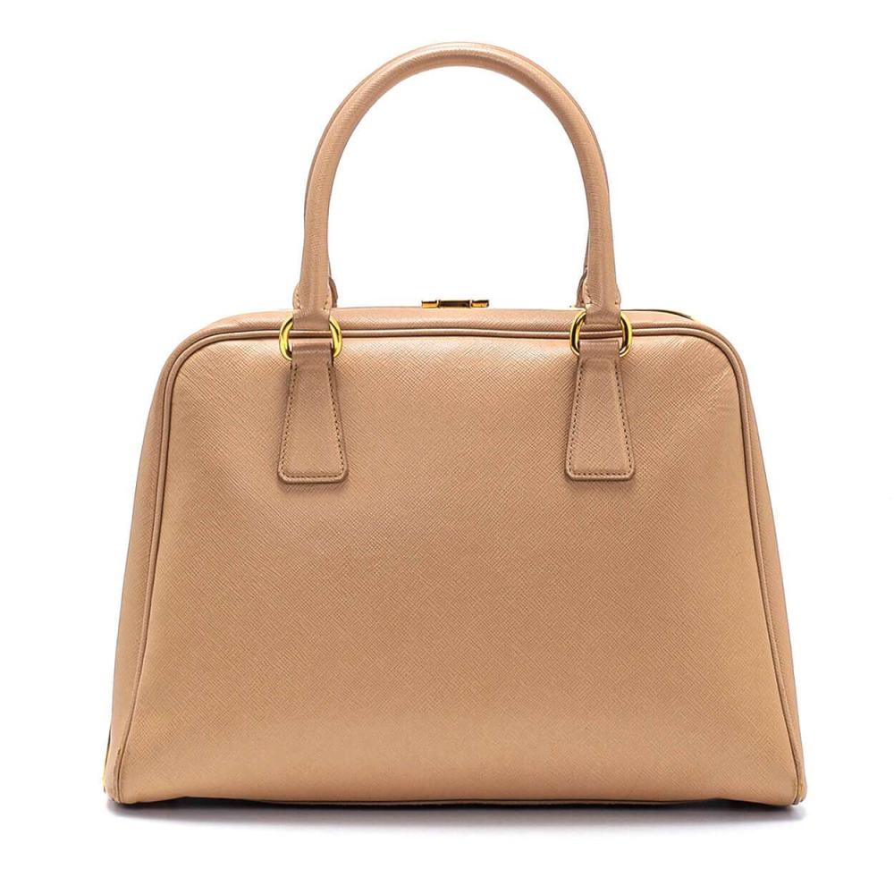 Prada Beige Saffiano Leather Pyramid Frame Top Handle Bag