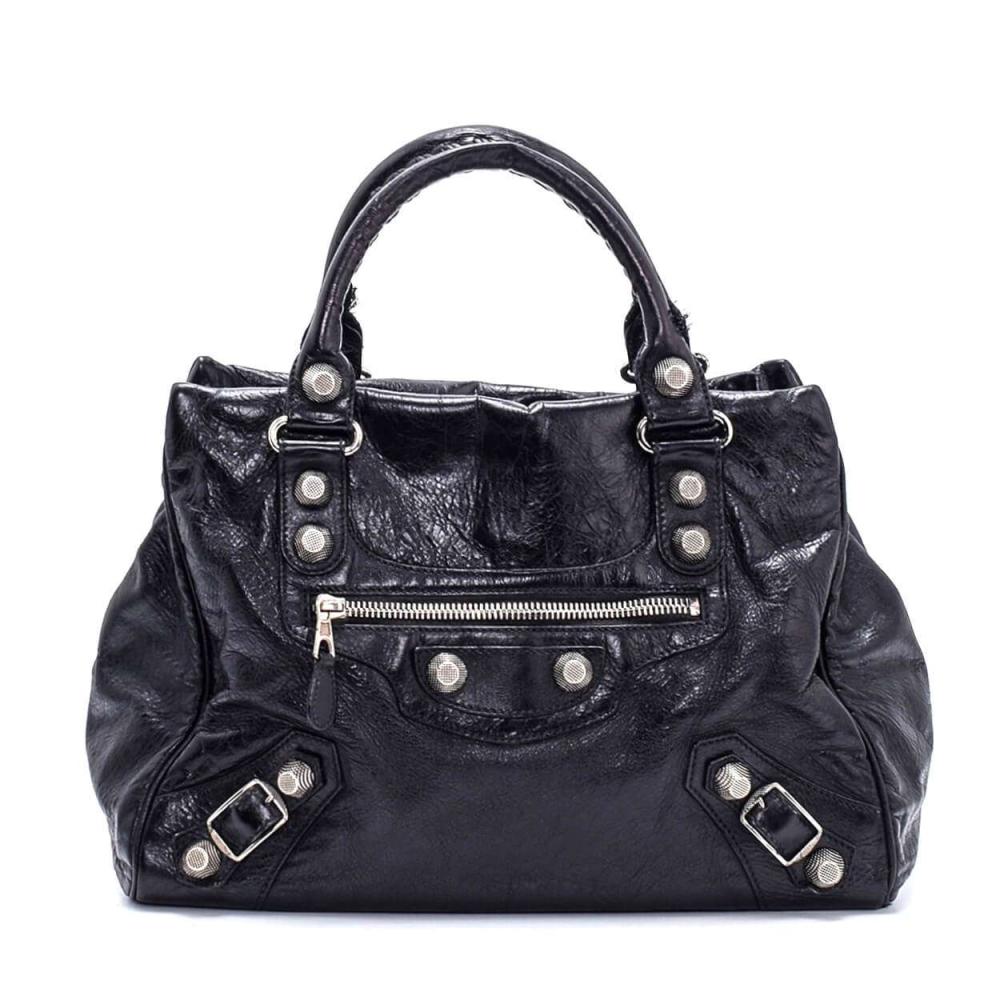 Balenciaga - Black Lambskin Leather Giant Velo Bag