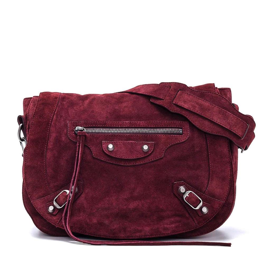 Balenciaga - Bordeaux  Suede Shoulder Bag