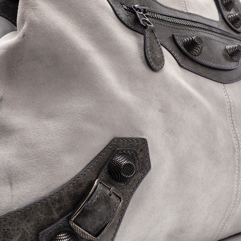 Balenciaga Grey Suede and Leather Giant Velo Bag