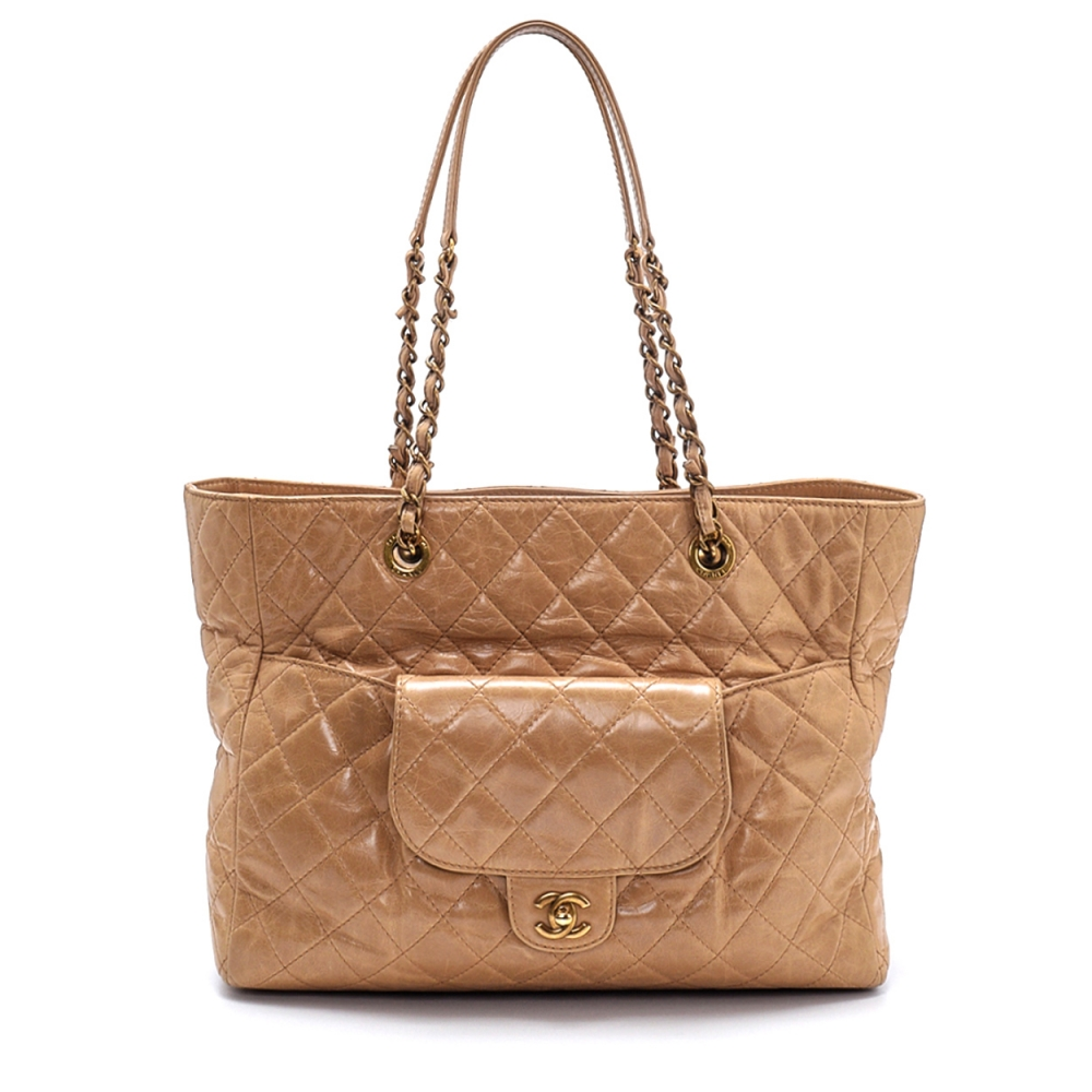 Chanel - Beige Lambskin Quilted Leather Shopping Bag