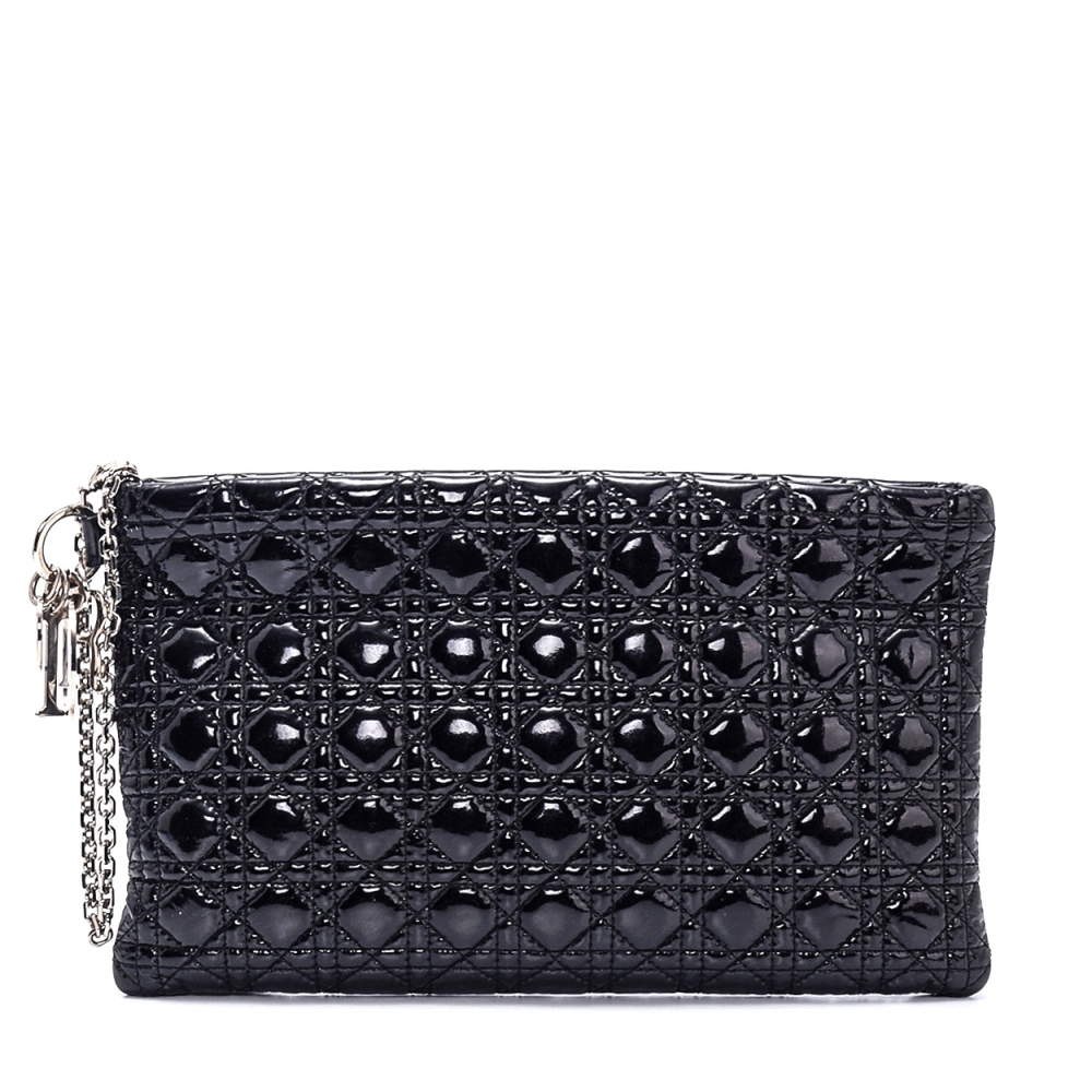 Christian Dior - Black Patent Cannage Quilted Leather Clutch