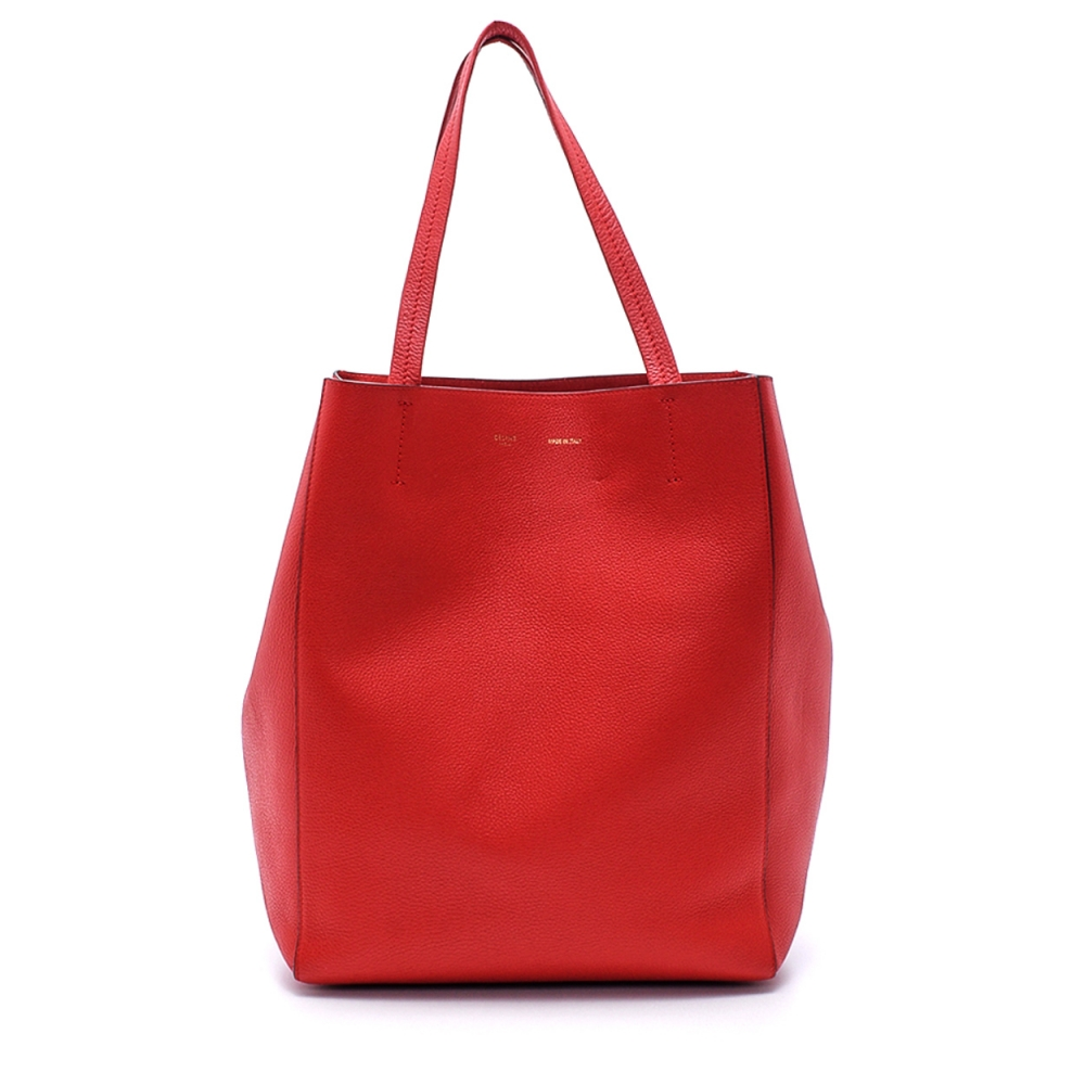 Celine - Red Calfskin Grained Leather Cabas Tote Bag