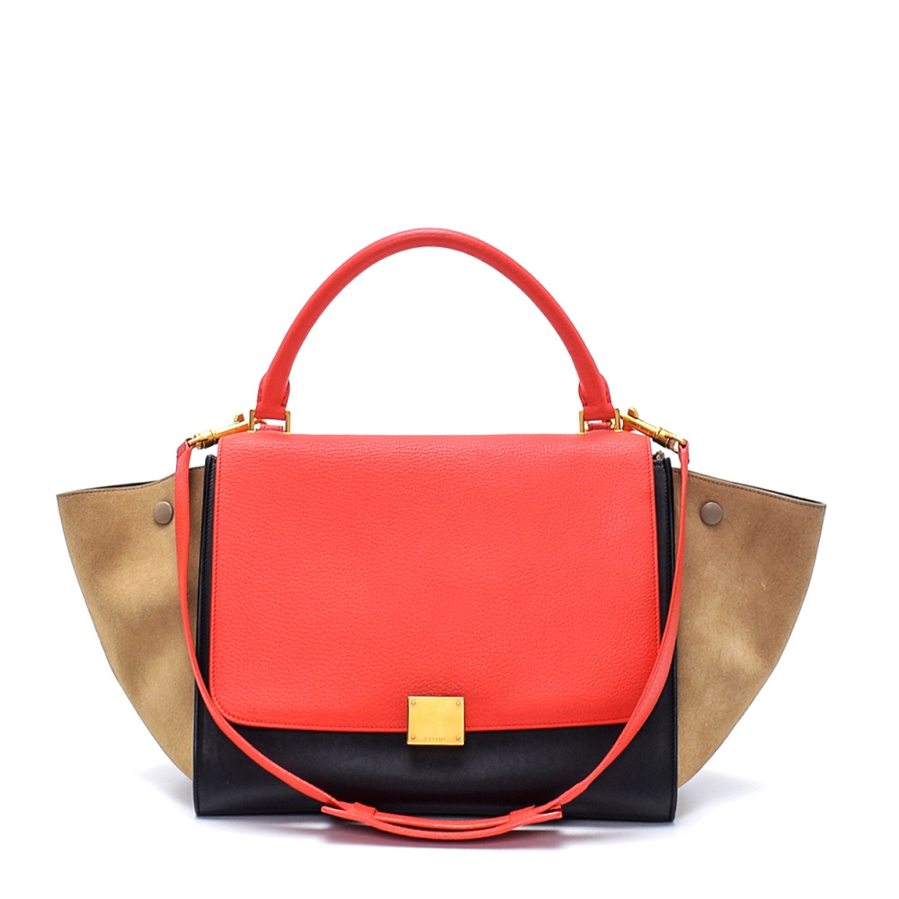 Celine - Tricolor Leather and Suede Medium Trapeze Bag