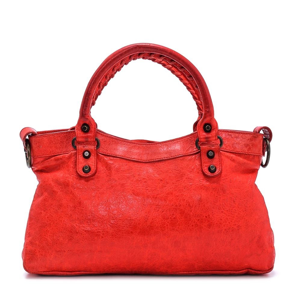 Balenciaga - Red Leather Small Motorcycle City Bag