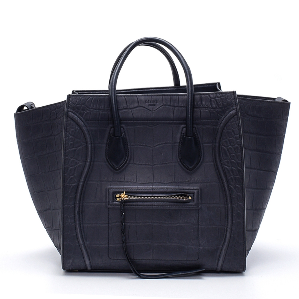 Celine - Navy Blue Croco Print Phantom Luggage Medium Tote Bag