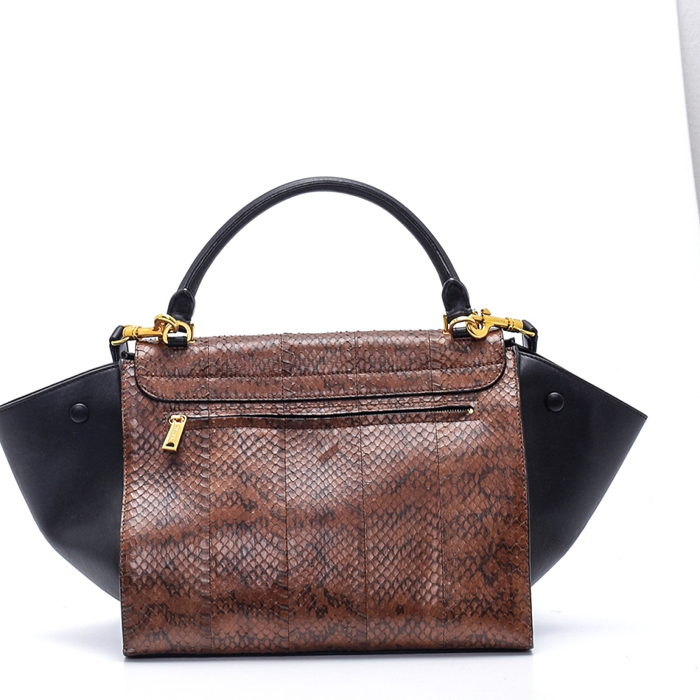 Celine - Black and Brown Python Leather Medium Trapeze Bag