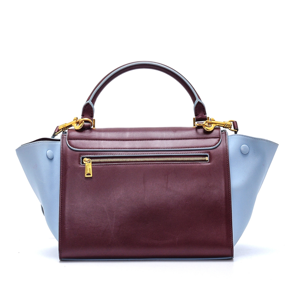 Celine - Baby Blue and Bordeaux Leather Small Trapeze Bag