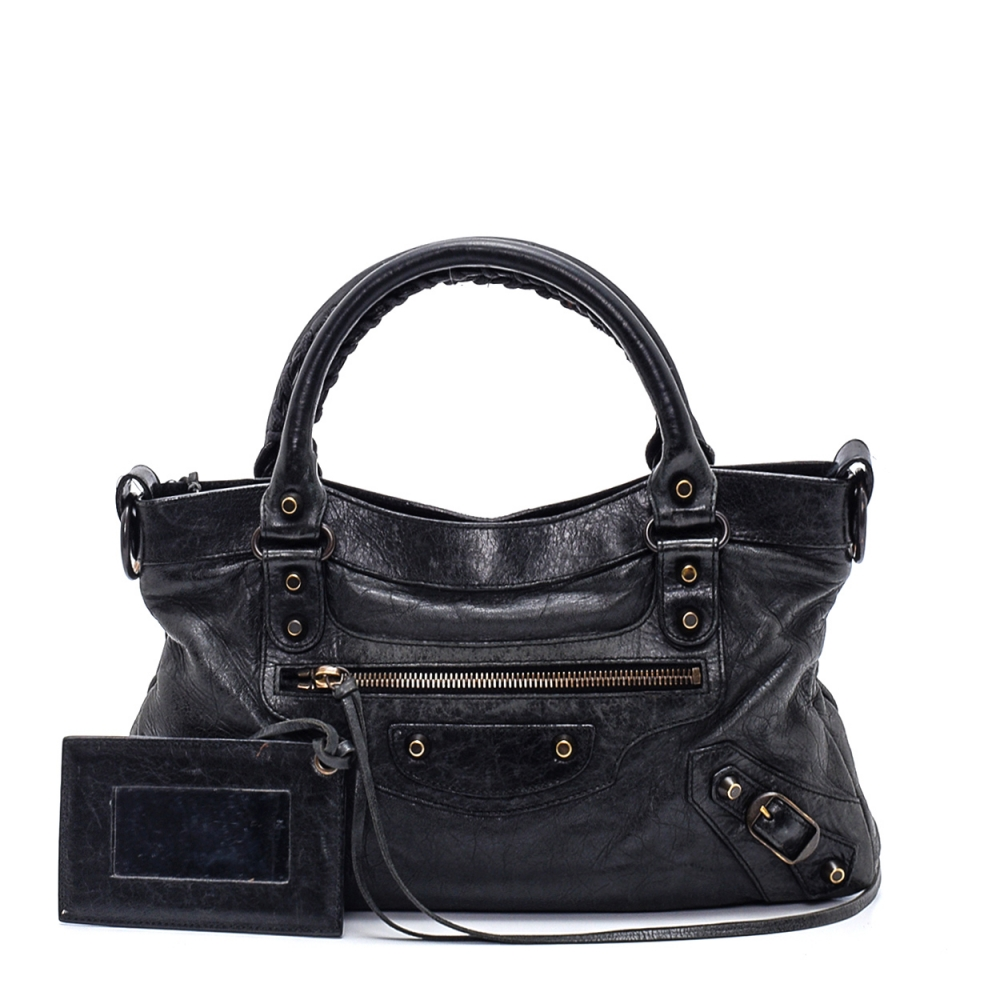 Balenciaga - Anthracite Leather Small Motorcycle City Bag