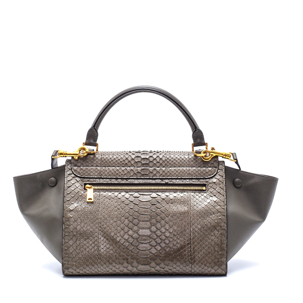 Celine - Etoupe  Python Leather Small Trapeze Bag