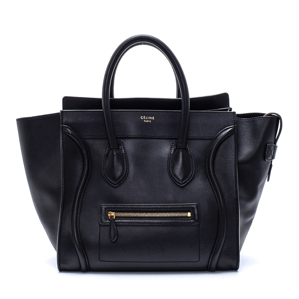 Celine - Black Leather Medium Luggage Tote Bag