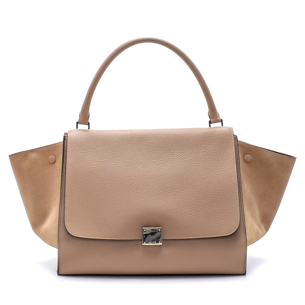 Celine - Beige and  Leather Large Trapeze Bag