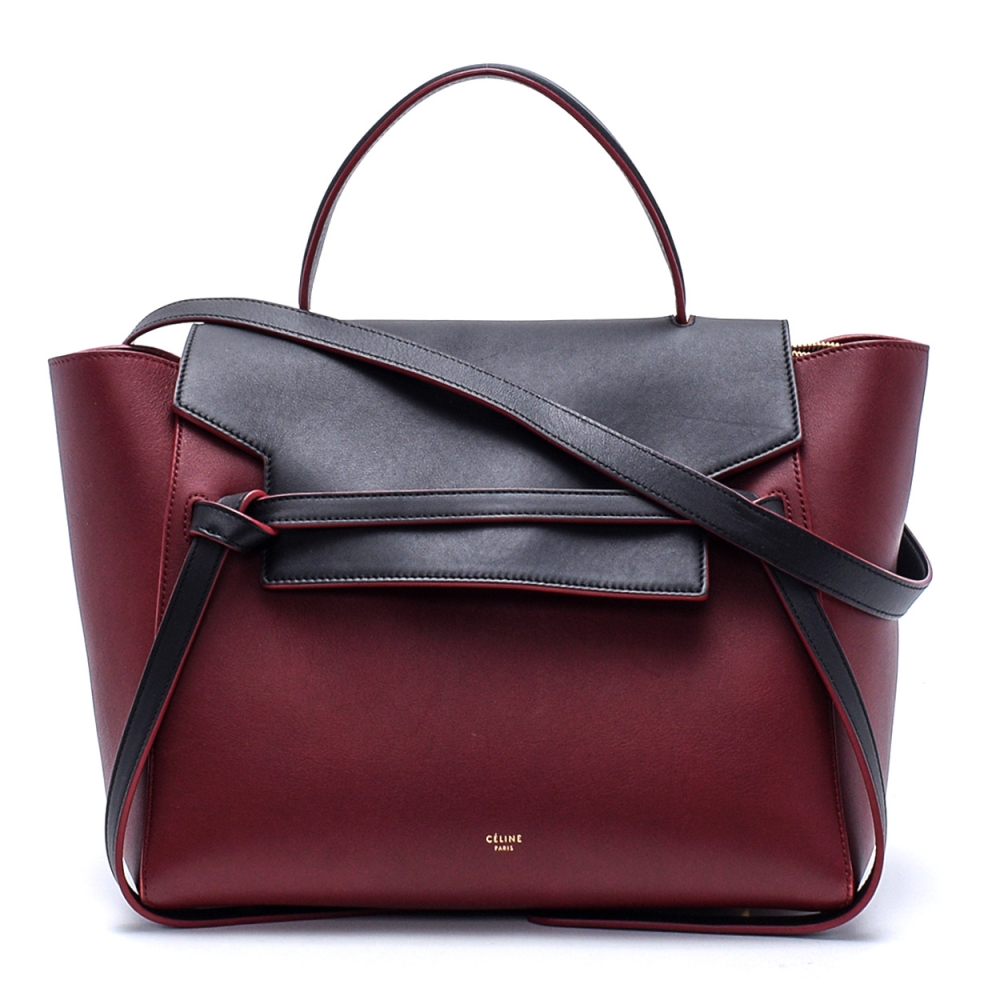 Celine - Bordeaux and Black Leather Medium Belt Bag