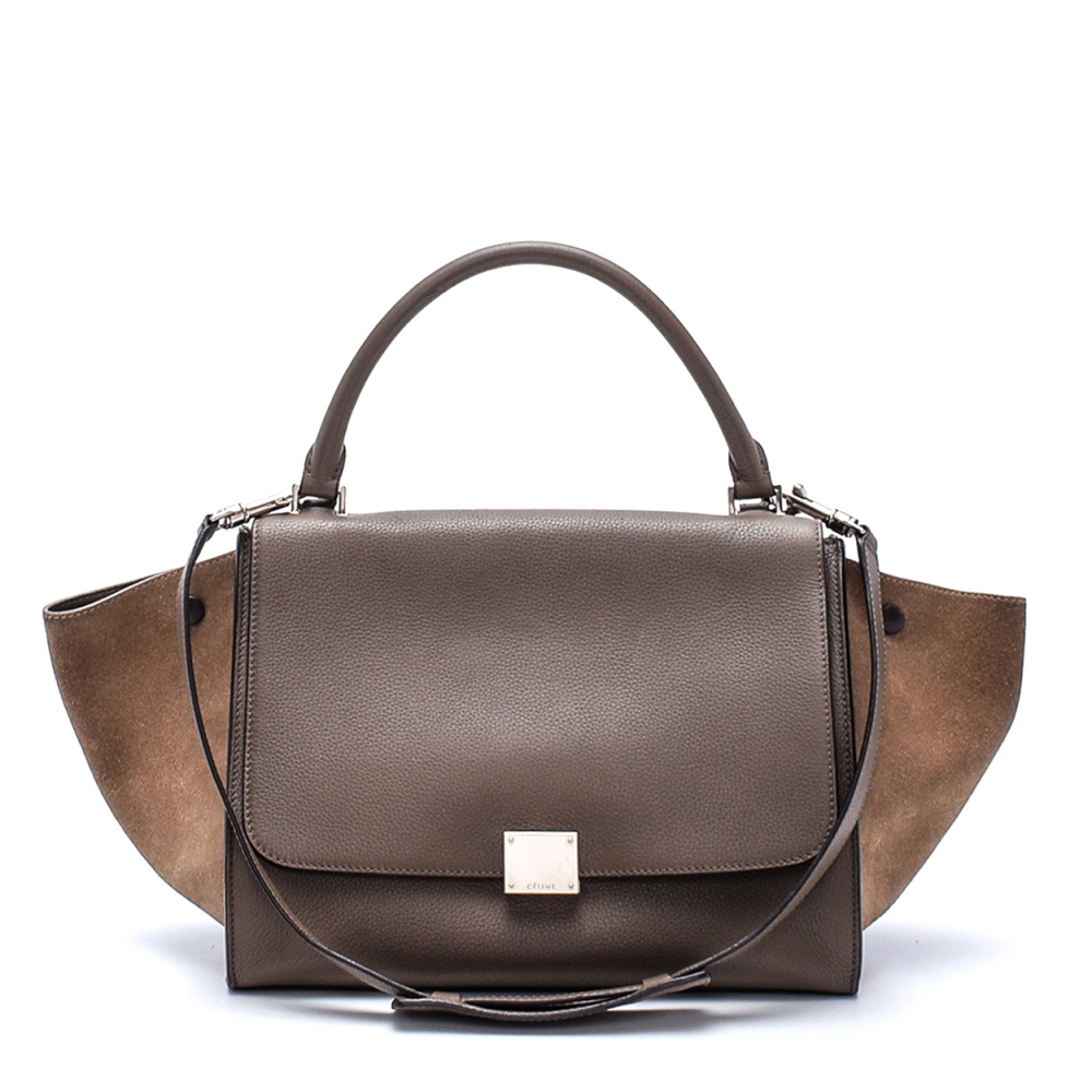 Celine - Etoupe Suede And  Leather Small Trapeze Bag