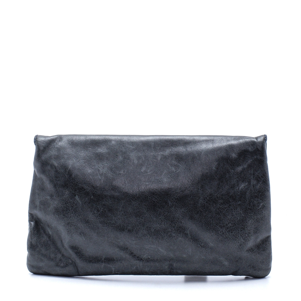 Balenciaga - Anthracite Calfskin Leather Motorcycle Envelope Clutch
