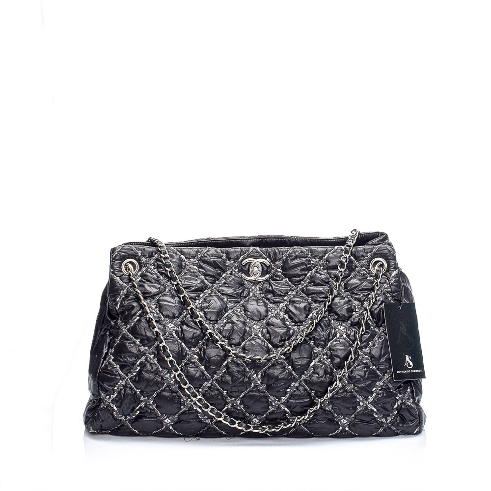 Chanel - Anthracite Quilted Tweed and Nylon Large Tote Bag