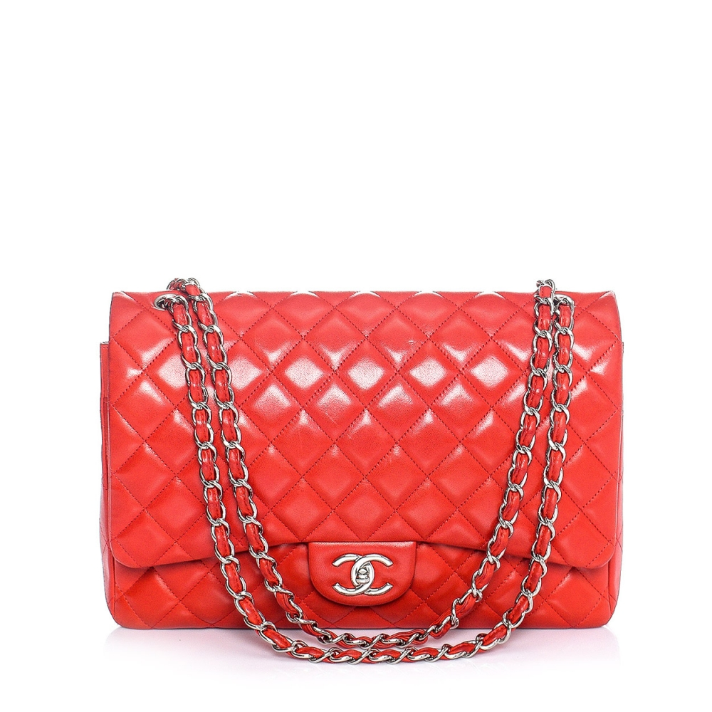 Chanel - Red Quilted Lambskin Leather Maxi Jumbo Double Flap Bag
