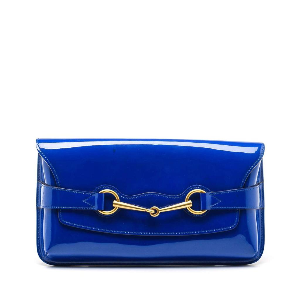 Gucci - Deep Blue Patent Leather Bright Bit Clutch Bag