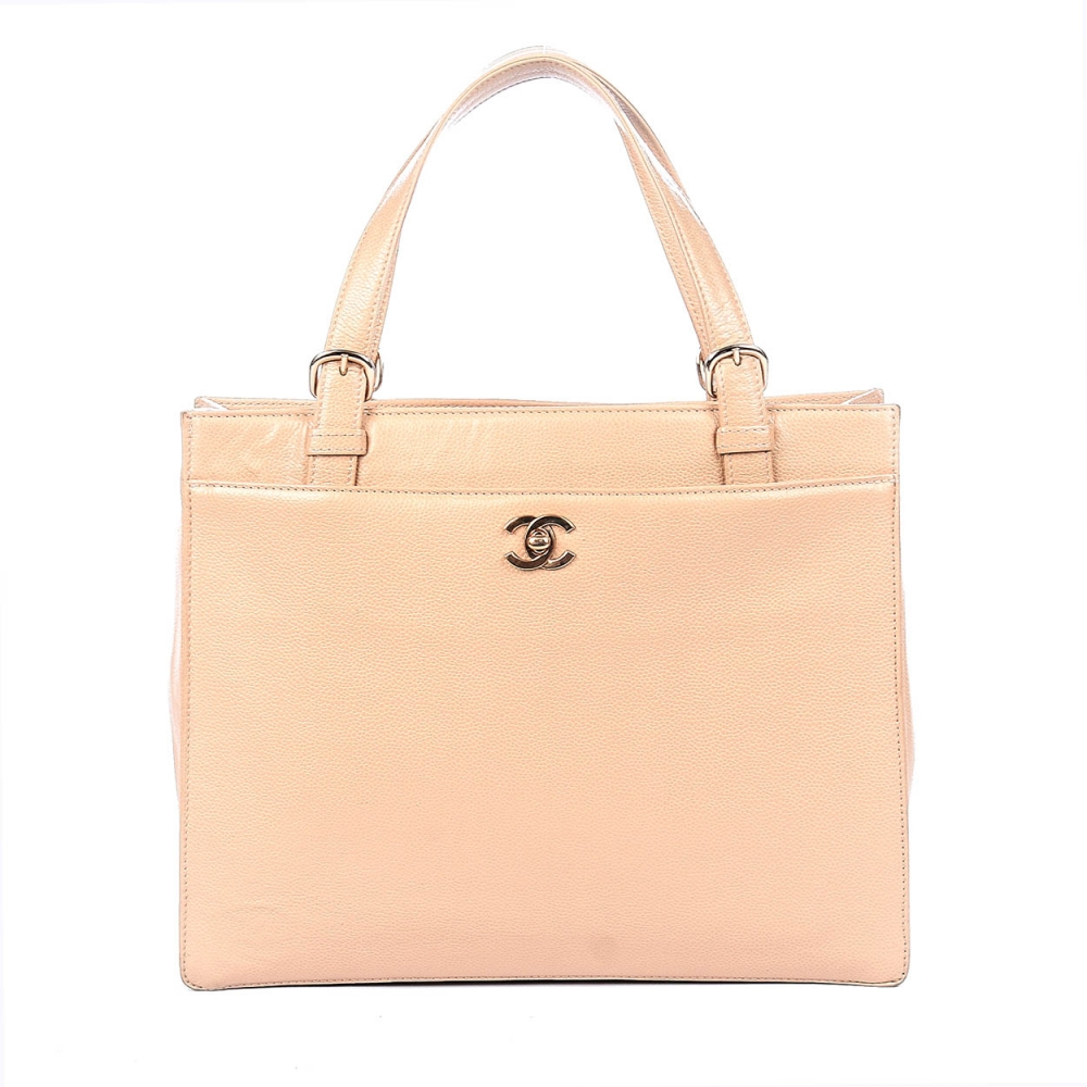 Chanel - Beige Quilted Caviar Leather Small  Shopping Tote Bag-2