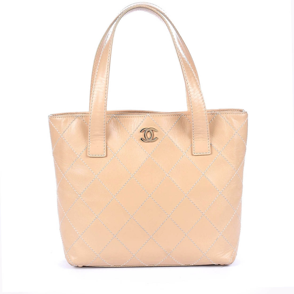 Chanel - Beige Quilted Caviar Leather Small  Shopping Tote Bag