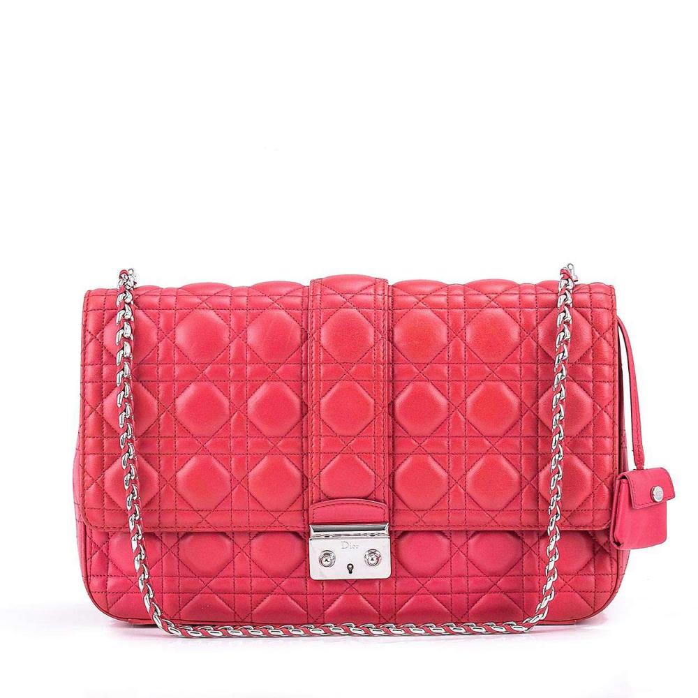 Christian Dior - Fuschia Cannage Leather Large Flap Bag