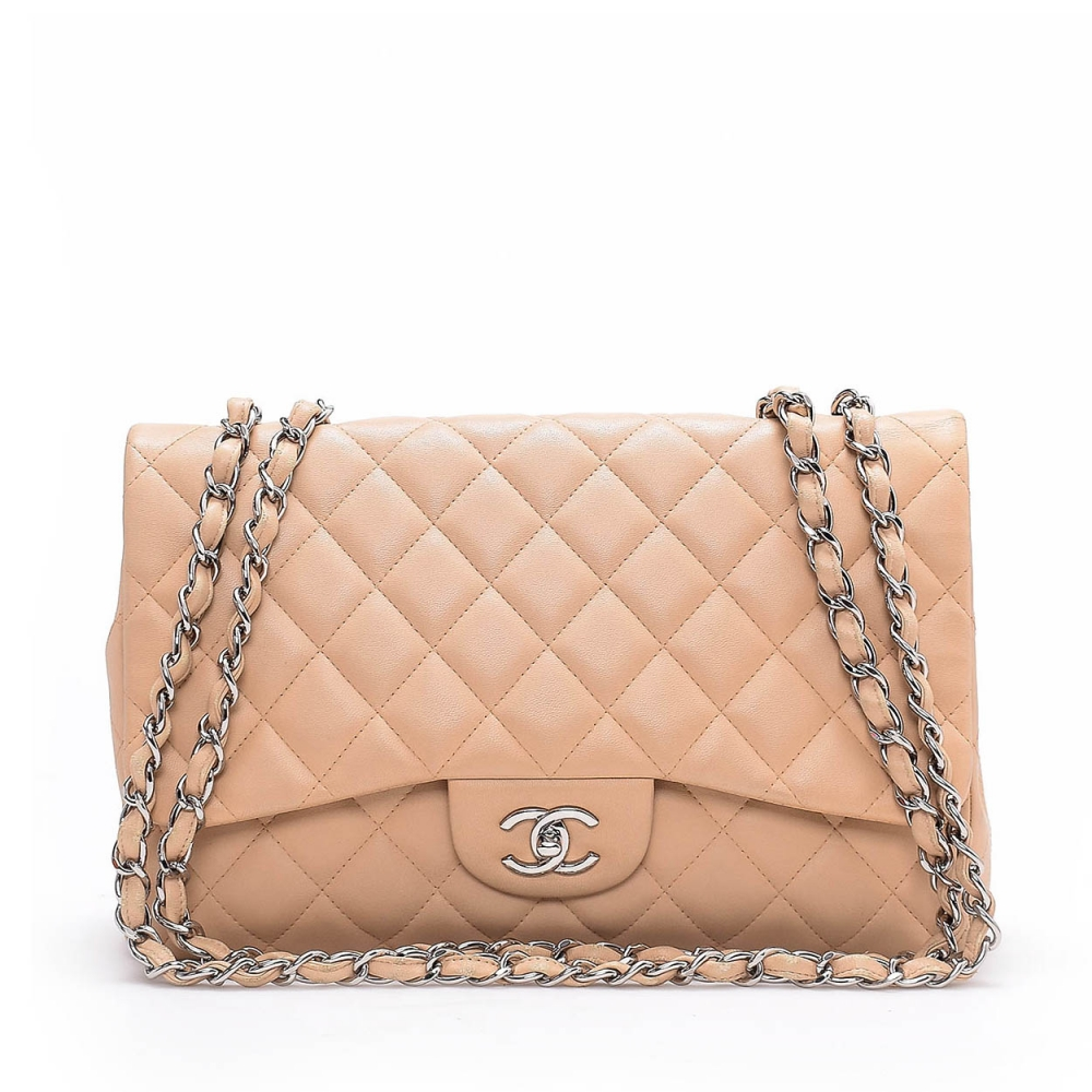 Chanel - Beige  Quilted Lambskin Leather Jumbo Single Flap Bag