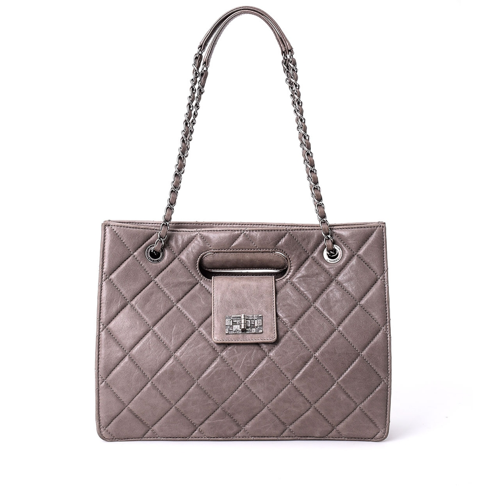 Chanel -  Grey Quilted Lambskin Leather Top Handle and Shoulder Bag