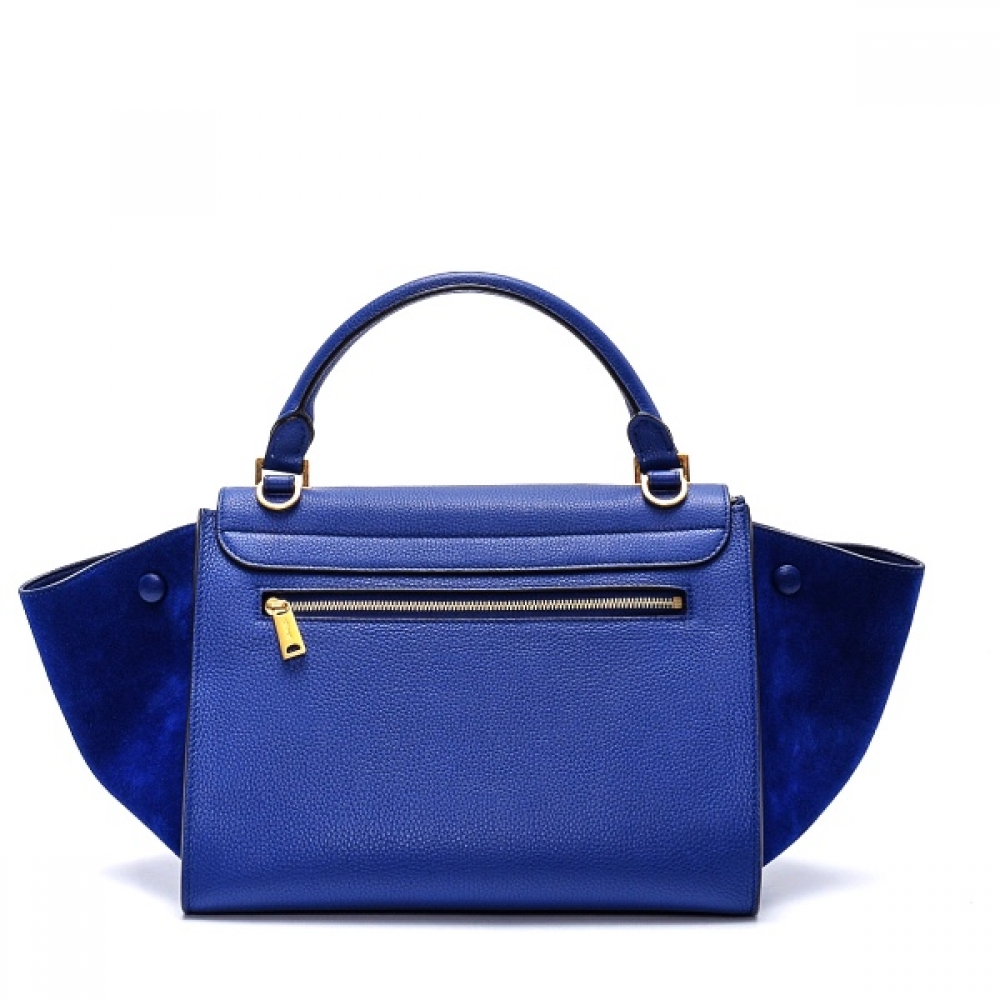 Celine - Navy Blue Suede and Leather Small Trapeze Bag