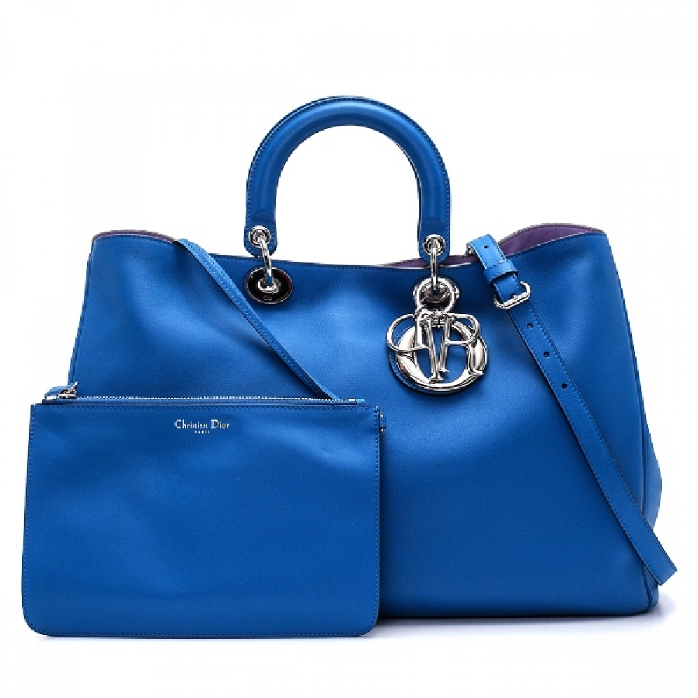 Christian Dior - Blue Calfskin Leather Diorissimo Large Tophandle Bag