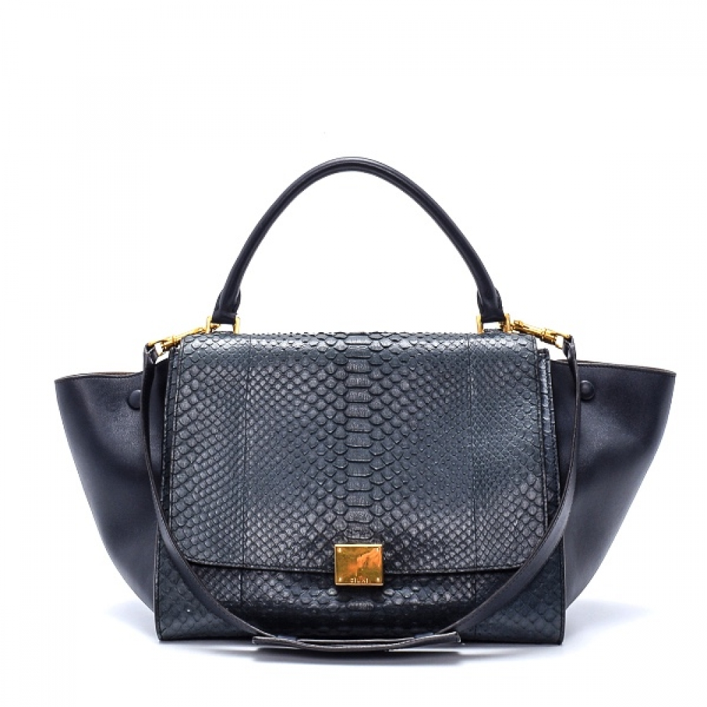 Celine - Navy Blue Python Leather Medium Trapeze Bag