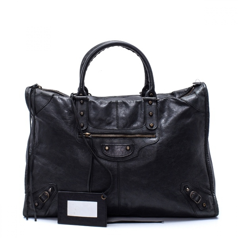 Balenciaga - Anthracite Lambskin Leather Motorcycle XL Bag