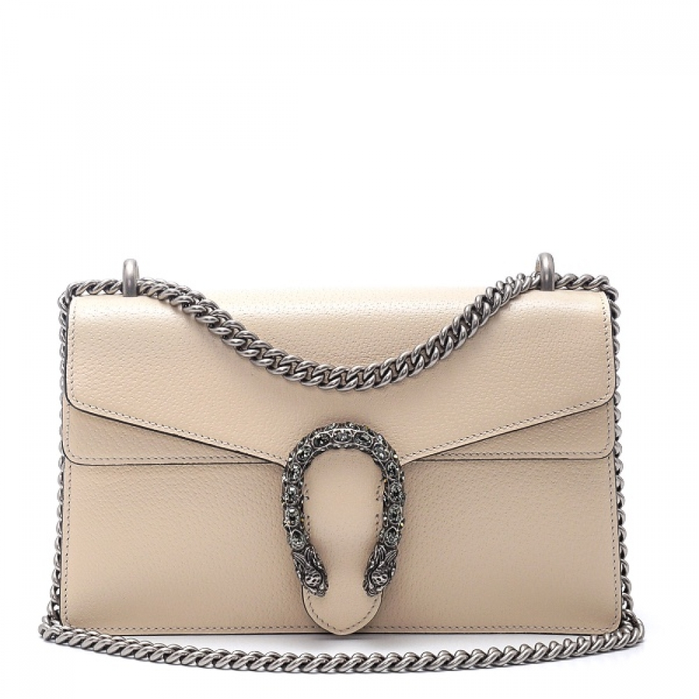 Gucci - Cream Calfskin Leather Dionysus Small Shoulder Bag