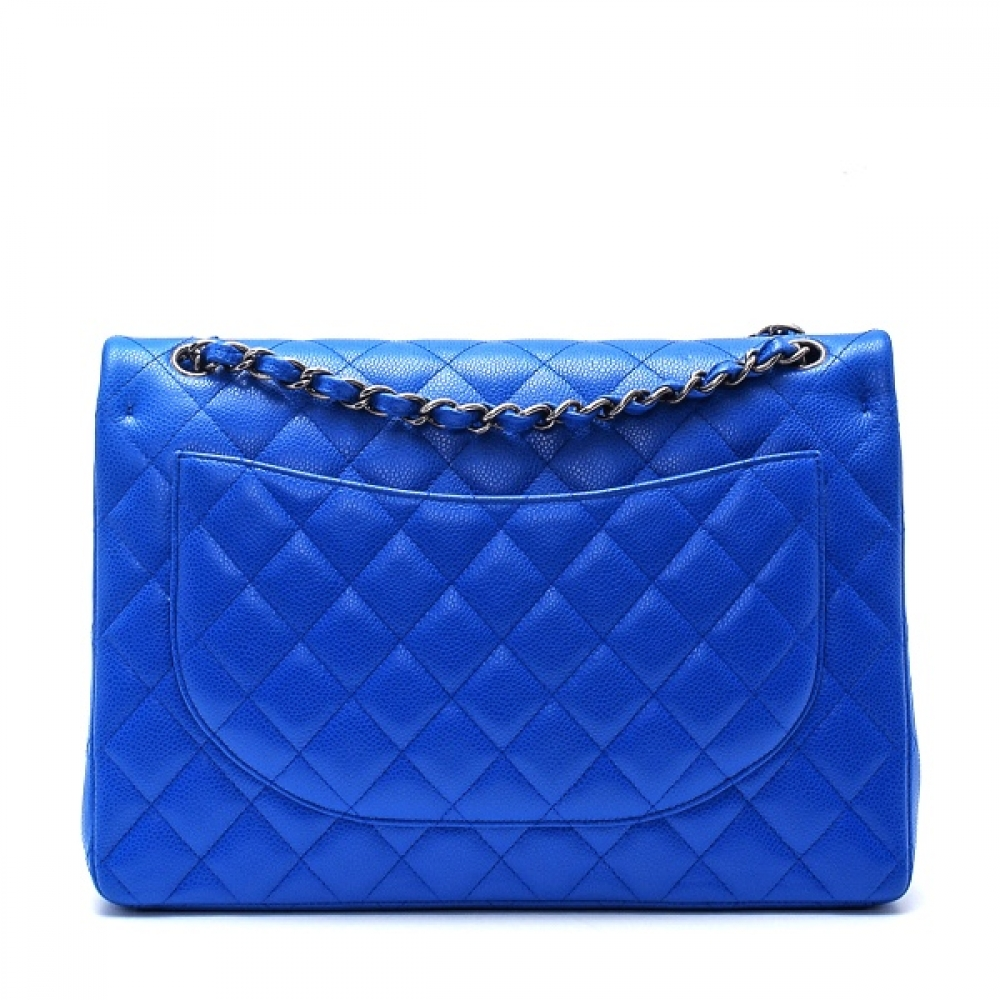 Chanel - Blue Quilted Caviar Leather Maxi Jumbo Double Flap Bag