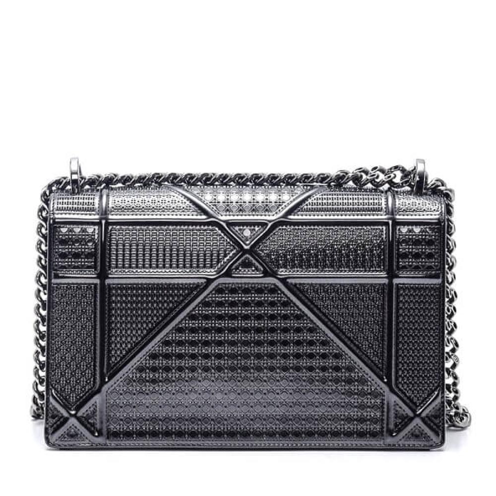 Christian Dior - Metallic Silver Calfskin Leather Dioroma Flap Bag