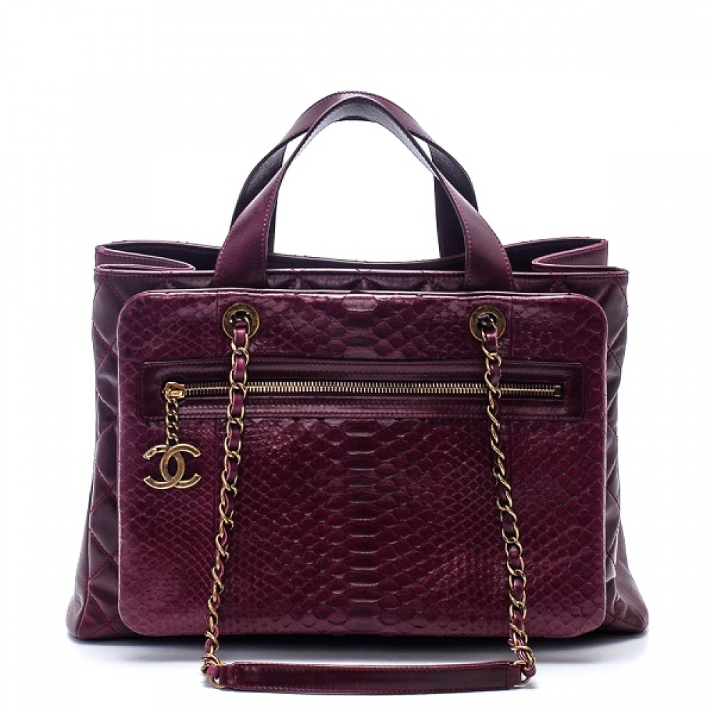 Chanel - Burgundy Python Glazed Calfskin Quilted Leather Urban Mix Tote Bag
