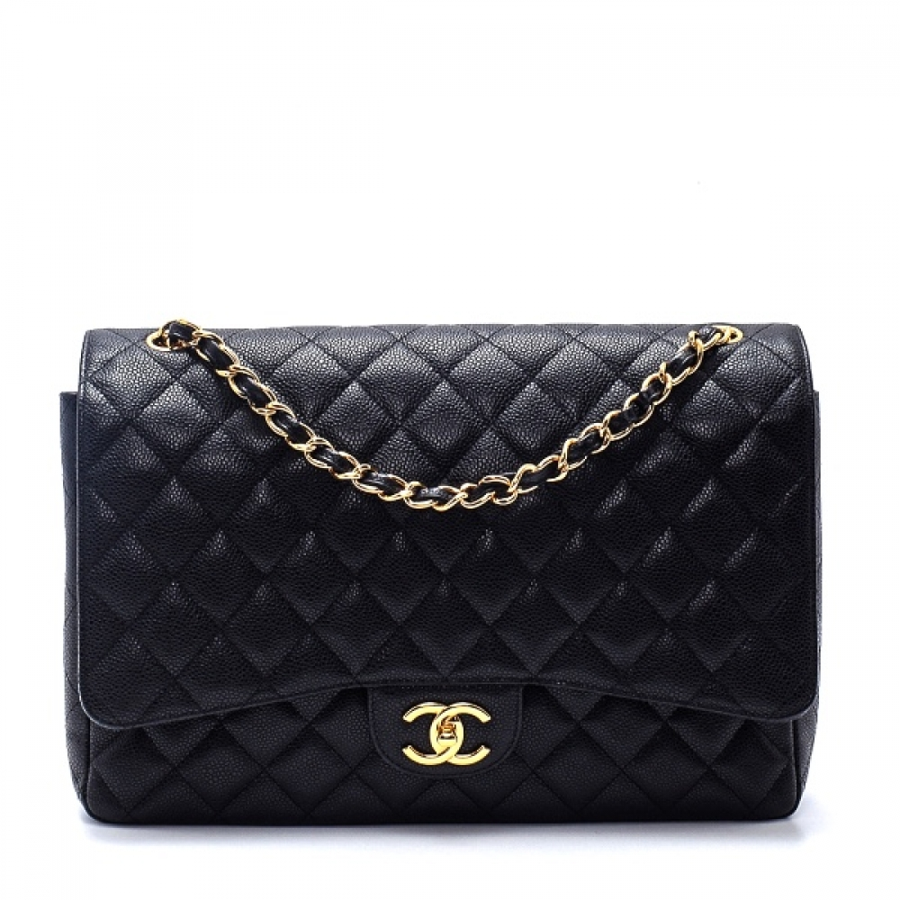 Chanel - Black Quilted Caviar Leather Maxi Jumbo Double Flap Bag