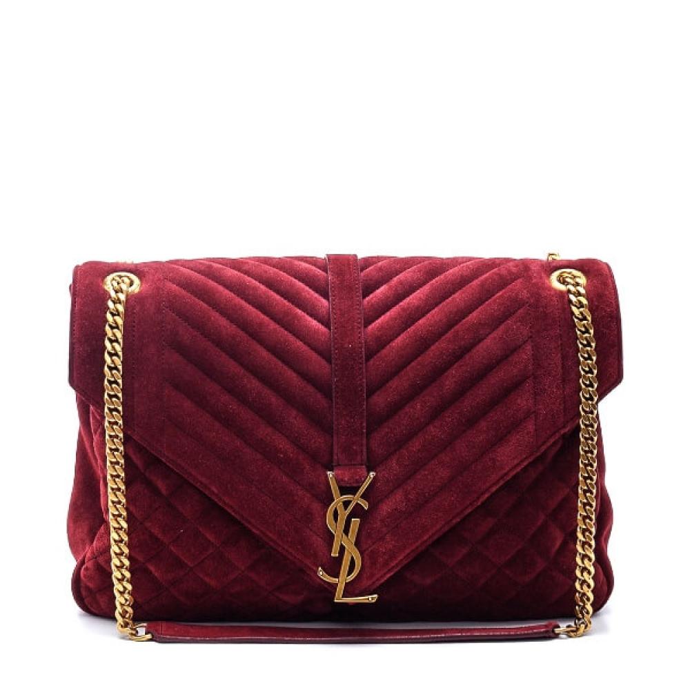 Yves Saint Laurent - Bordeaux Suede Medium Collage Shoulder Bag