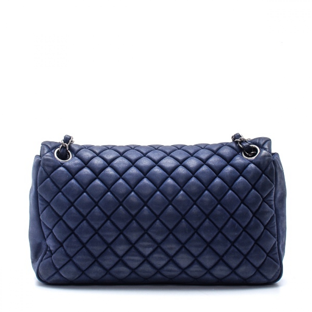 Chanel - Navy Blue Quilted Nubuck Leather Flap Bag