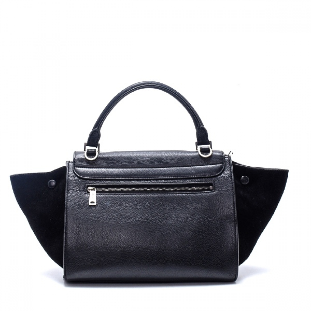 Celine - Black Grained Leather and Suede Small Trapeze Bag