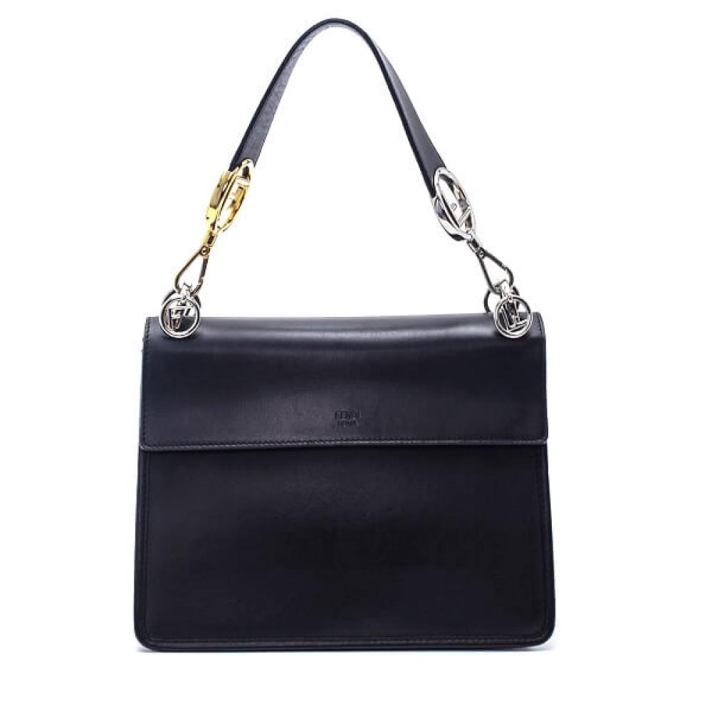 Fendi - Black Calfskin Leather FF Textured Kan I Bag