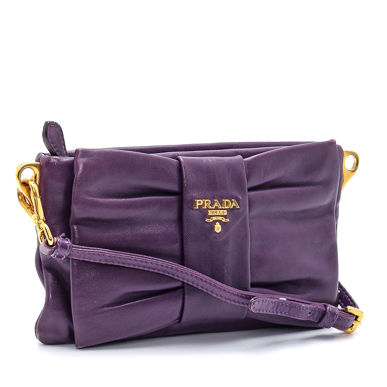 Prada - Purple Lambskin Leather Ribbon Mini Crossbody Bag