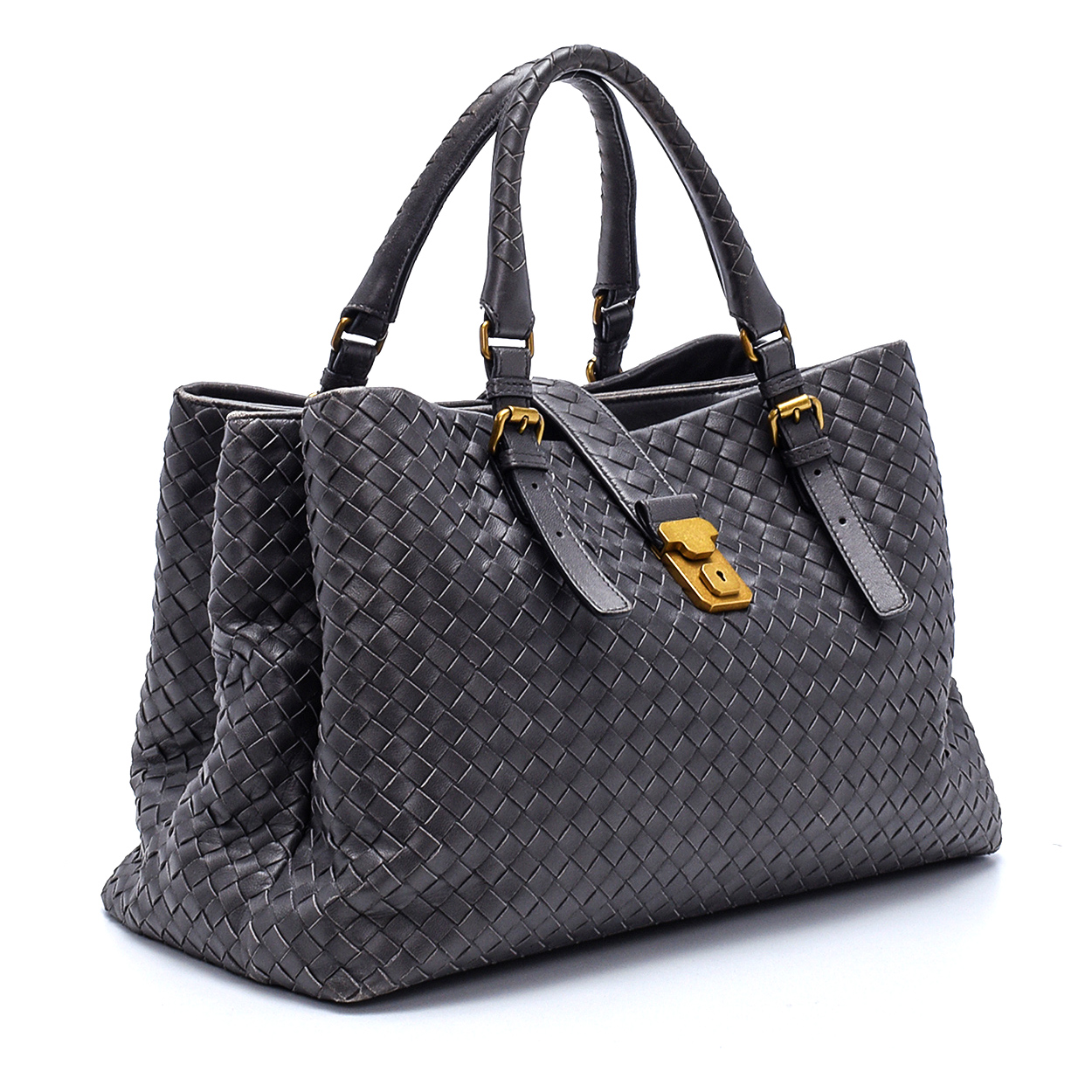 Bottega Veneta - Grey Intrecciato Leather Large Roma Tote Bag